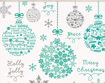 Clipart christmas ball, christmas clipart, winter clipart, teal grey christmas clipart, snowflakes clipart