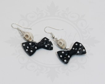 SALES; DISCOUNT! aulite skull earrings white, black polka dot bow - rock'n'roll rockabilly pin up rocker gothic lolita