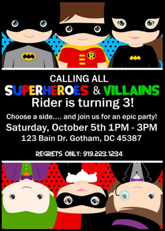 Superheroes Vs Villains Birthday Invitation Invite Batman