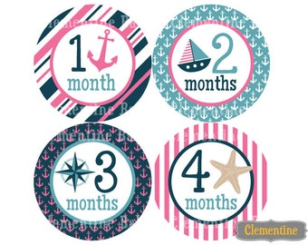 Monthly Baby Stickers, nautical baby month stickers, monthly baby stickers - nautical girl