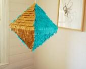 Quartz Pinata decoration turquoise & gold
