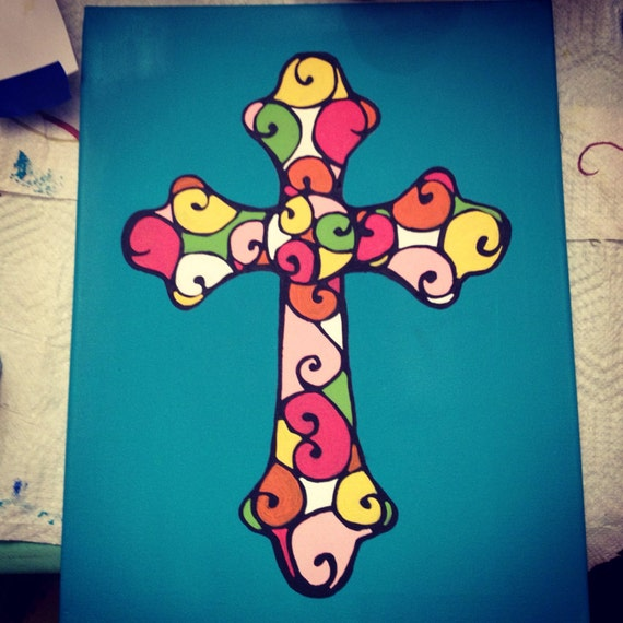 Colorful cross canvas painting for Cross paintings on canvas