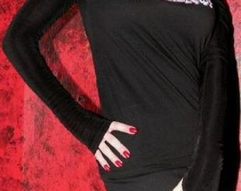 Long Black Arm Warmers With Thumbholes