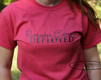 Military RED Friday Remember Everyone Deployed Feminine Design Shirt