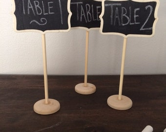 5 Small Chalkboard Table Stands - Shabby Chic Wedding Decor. Chalkboard signs-by HandStampology