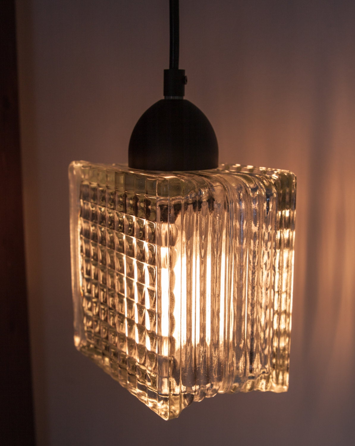 Upcycled clear glass block lamp hanging pendant lighting for Glass block r value