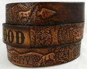 Name Belt. Deer scene NBT110 Includes name in center back, utility buckle & leather keeper
