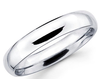 10K Solid White Gold 4mm Plain Wedding Band Ring