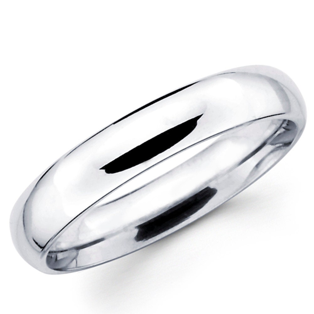 14K Solid White Gold 4mm Plain Wedding Band Ring
