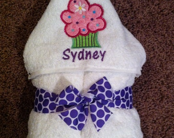 Personalized Cupcake Hooded Towel - your color choices