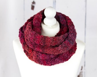 Hand Knit Chunky Infinity Scarf - Berry Red - Luxury Wool Blend