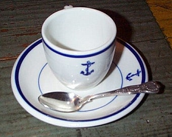 US Navy 3pc Demitasse Expresso Coffee Set w/ Fouled Anchor, Wardroom Officers Mess, Everyday Use, Heavy Durable Restaurantware - WWII Korea