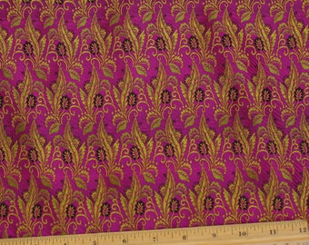 "Gold/Fuchsia Silk Brocade Jacquard 100% Silk Fabric 44"" Wide, By the Yard (JD-362)"