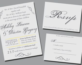 Custom Wedding Invitation & RSVP - Curls