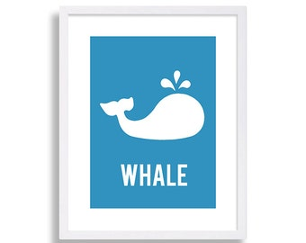 Blue Nursery Whale Nursery Print Baby Boy Nursery Decor Baby Room Art Nursery Wall Art Kids Wall Art Whale Nursery Art Print Baby Boy