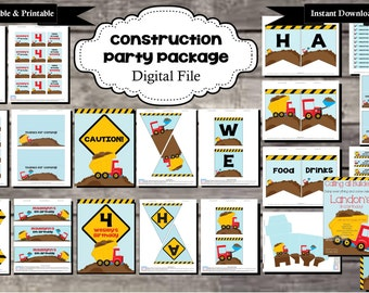 Construction Birthday Party Package - Digital, Editable, Printable File - Instant Download