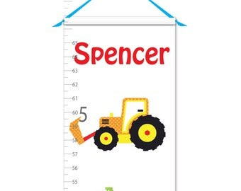 Growth Chart - Personalized Growth Chart - Construction Growth Chart - Canvas Growth Chart - Tractor Growth Chart - Boy Growth Chart