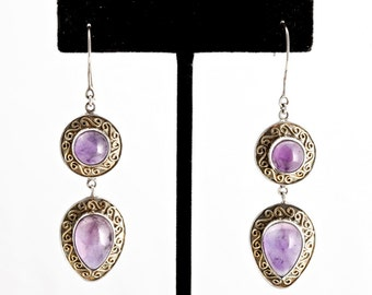 Amethyst 345 - Earrings - Sterling Silver & Amethyst