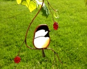 Chickadee with Berries stained glass suncatcher
