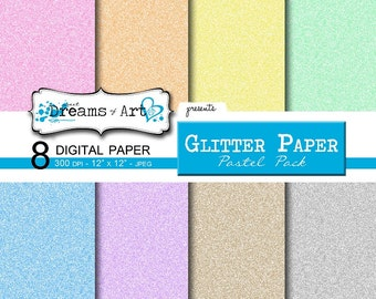 8 Digital Glitter Paper (Pastel Pack)