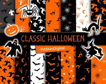 Classic Halloween Digital Paper Pack with witches, bats, ghosts, spiders, cats and pumpkins for scrapbooking, invitations, cards, crafts