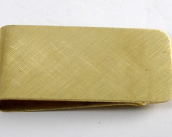 Vintage Collectible Brushed Gold Plated Solid Brass Plain Wide Money Clip New Old Stock