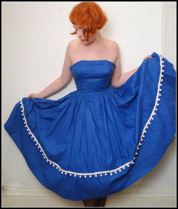 Original 50s sky blue POMPOM trim full skirt ROCKABILLY pinup jive hop dance CORSET strapless prom dress S