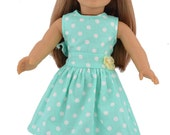 18'' American Girl Doll Clothes: Green/White Polka Dot Dress Outfit for 18'' doll clothes, 18'' doll outfit, American Girl Outfit #1082