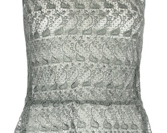 Grey Guipure Lace peplum top by ROSAvelt