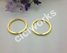 Wholesale 30pcs 28mm Gold Keyrings Charm Split Rings Open Jump KeyChain Double Loop Clasp