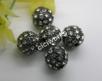 10pcs 10mm Gunmetal Alloy Rhinestone Beads Charm Disco Ball Bracelet/Necklace Bead