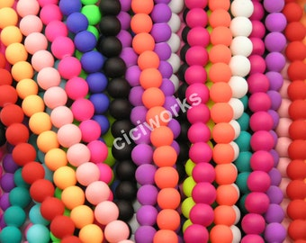 Wholesale 300pcs Multi-color Matte Rubber Neon Round Glass Beads 8mm GD300RB61