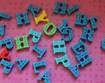 12 3d alphabet fondant letters for Cake Cupcake/Cookie Toppers