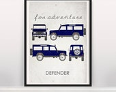 For Adventure. Defender. Wall Art. Car Graphic. Digital Print. Typography A3 A2