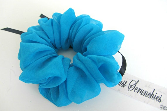 Silk Hair Scrunchie- Turquoise Scrunchy- Turquoise Blue Hair Accessories- Spring Scrunchies- Silk Hair Bands