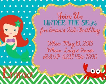 The Little Mermaid Ariel Party Invitation