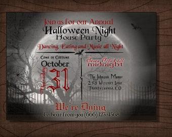 Halloween Party Invitation, Halloween Night, Halloween Moon,  invitation, printable, digital file