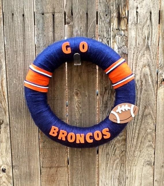 Items Similar To Denver Broncos NFL Yarn Football Wreath