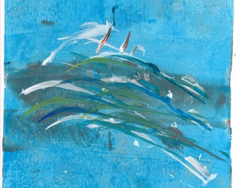Limited Edition Print of original Acrylic Abstract Artwork - Boats. The Sea, Blue.