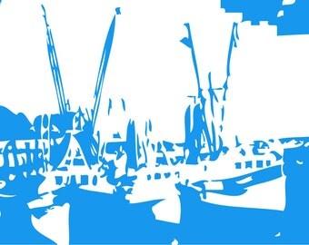 Custom Abstract Shrimp Boats Print - Digital Download