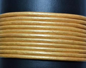 Metallic Gold - 2mm Leather Cord per yard