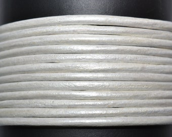 Pearl/Metallic/ 1.5mm Leather Cord / leather by the yard / round leather cord / genuine leather / necklace cord / bracelet cord