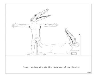 humorous black and white illustration.