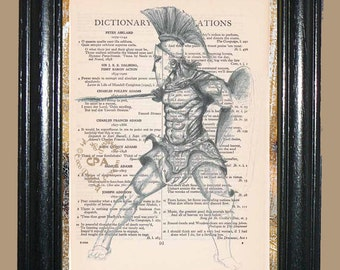 Roman Illustration - Vintage Dictionary Page Book Art Print Upcycled Page Art Mixed Media Art Warrior Print