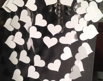 Wedding Garland, White Heart Garland, Winter Wedding, Bridal Shower decor, Baby Shower, any occasion garland