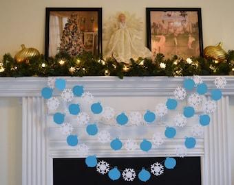 Christmas Paper Garland 10 ft, Snowflake Garland, Ornament Garland-Any occasion garland