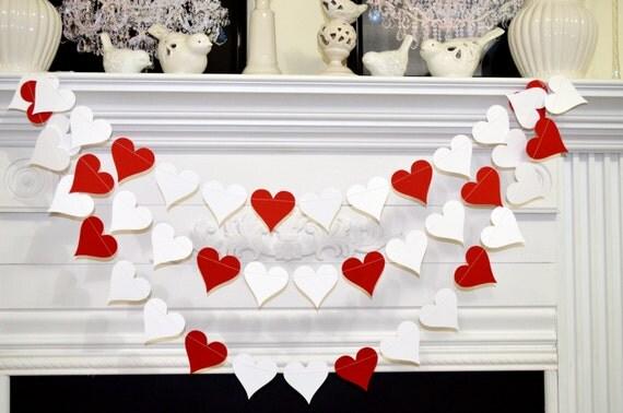 Red white heart garland Wedding garland birthday party