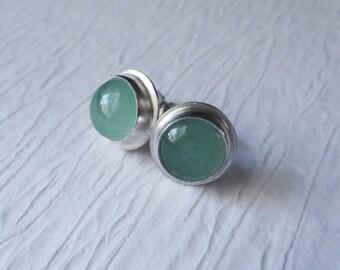 Seafoam Green Stone Stud Earrings, Aventurine Sterling Silver Stud Earrings, Gemstone Stud Earrings, Post Earrings, Everyday Earrings