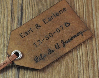 personalized travel luggage tag, custom leather luggage tag, personalized wedding gift Valentines day gift couple gift