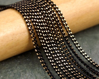 2mm Brass Chain Black Faceted Curb Chain rc09(8ft)